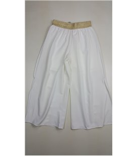pantalone pinocchietto in viscosa con spacco laterale e pantalone corto interno in jersey ragazza