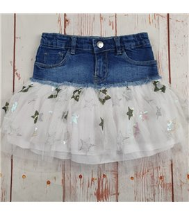 gonna jeans con tulle e stelle strass foderata in cotone ragazza
